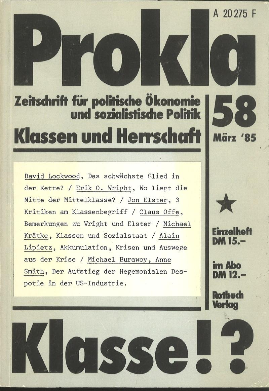 Ansehen Bd. 15 Nr. 58 (1985): Klasse! - Klassen und Herrschaft