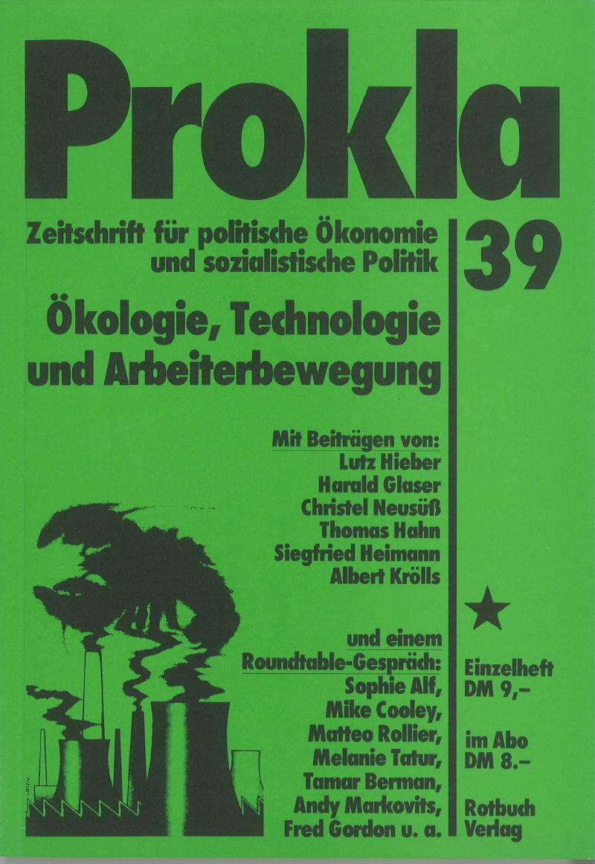 Ansehen Bd. 10 Nr. 39 (1980): Ökologie, Technologie und Arbeiterbewegung