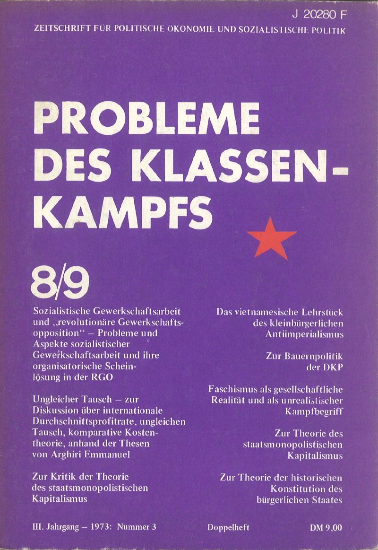 Ansehen Bd. 3 Nr. 8/9 (1973): Probleme des Klassenkampfs