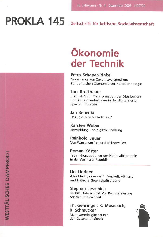 Ansehen Bd. 36 Nr. 145 (2006): Ökonomie der Technik