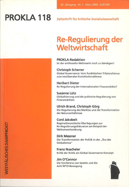 Ansehen Bd. 30 Nr. 118 (2000): Re-Regulierung der Weltwirtschaft
