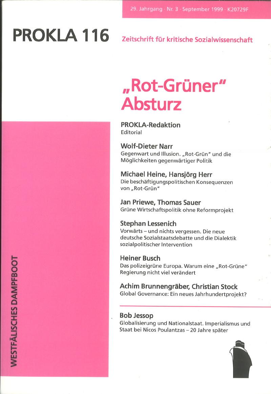 "Ansehen Bd. 29 Nr. 116 (1999): ""Rot-Grüner"" Absturz"