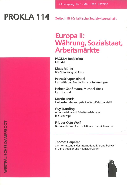 Ansehen Bd. 29 Nr. 114 (1999): Europa II: Währung, Sozialstaat, Arbeitsmärkte