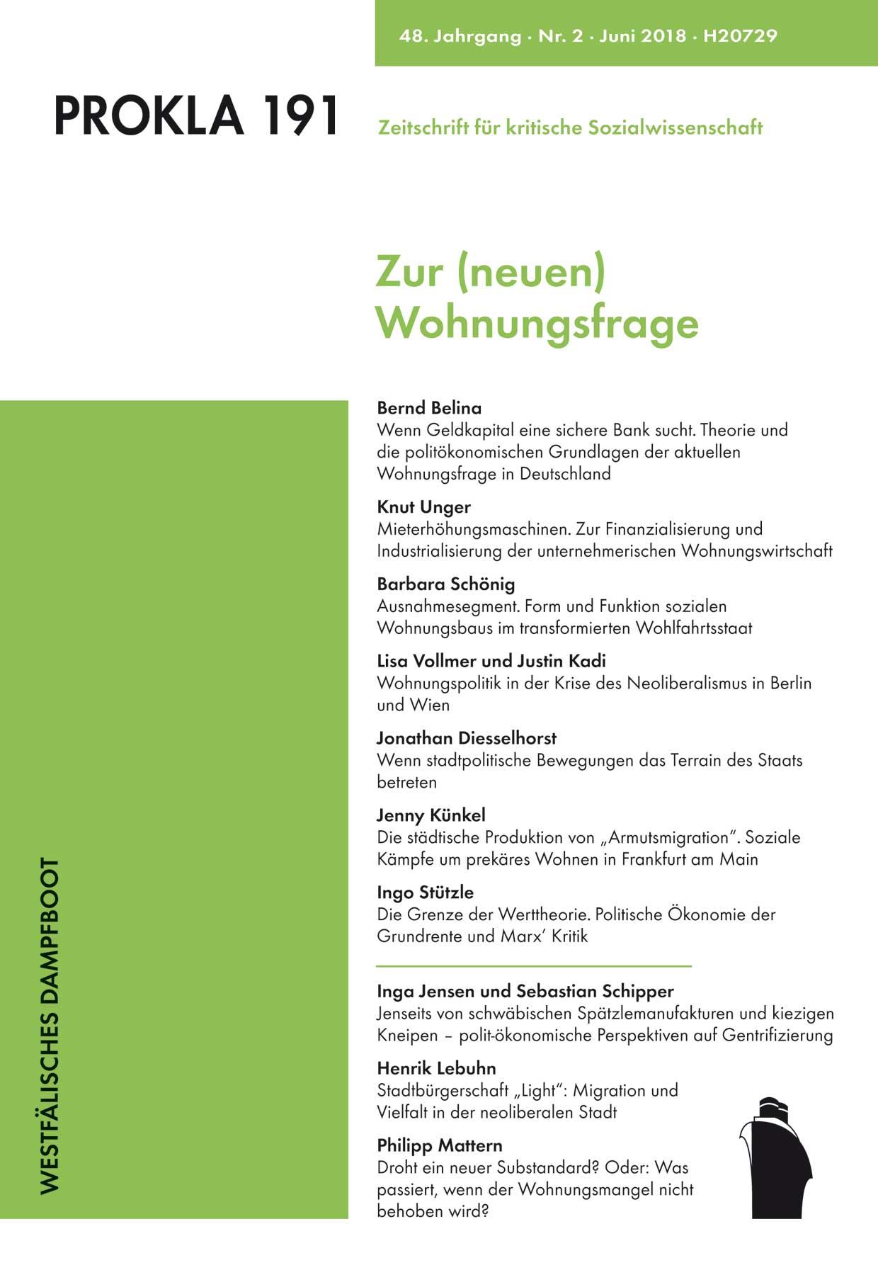 Ansehen Bd. 48 Nr. 191 (2018): Zur (neuen) Wohnungsfrage