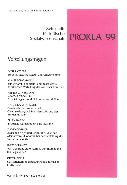 Ansehen Bd. 25 Nr. 99 (1995): Verteilungsfragen